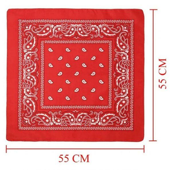 Бандана красная, молодежная, 55х55 см